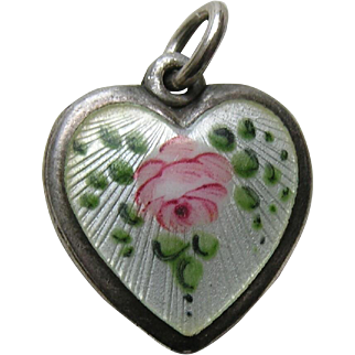 "Walter Lampl Enameled Pink Rose ""Julie"" Sterling Heart Charm"