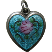 "Walter Lampl Enameled Pink Rose ""Norbert"" Sterling Heart Charm"