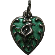 """Vintage Enameled Green Calla Lily """"Kay"""" Sterling Heart Charm"""