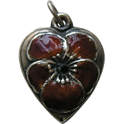 "Vintage Enameled Burnt Orange Pansy ""STC"" Sterling Heart Charm"