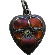 Vintage Enameled Burnt Orange Pansy Sterling Heart Charm
