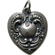 Vintage Large Forget-Me-Not Scroll Border Sterling Heart Charm
