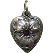 "Vintage Garnet Paste Pansy ""Betty"" Sterling Heart Charm"