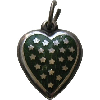Vintage Dark Green Enameled Stars Sterling Heart Charm