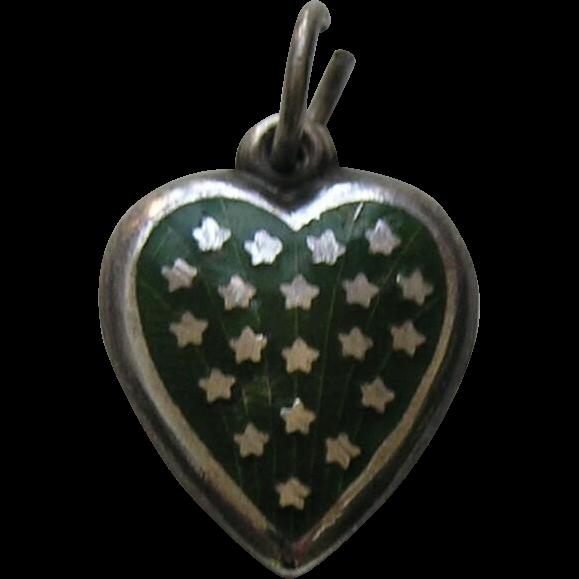 Vintage Dark Green Enameled Stars Sterling Heart Charm