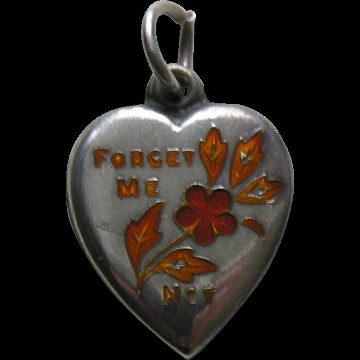 Vintage Burnt Orange Enameled Forget-Me-Not-Sterling Heart Charm