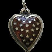 Vintage Burnt Orange Enameled Stars Sterling Heart Charm