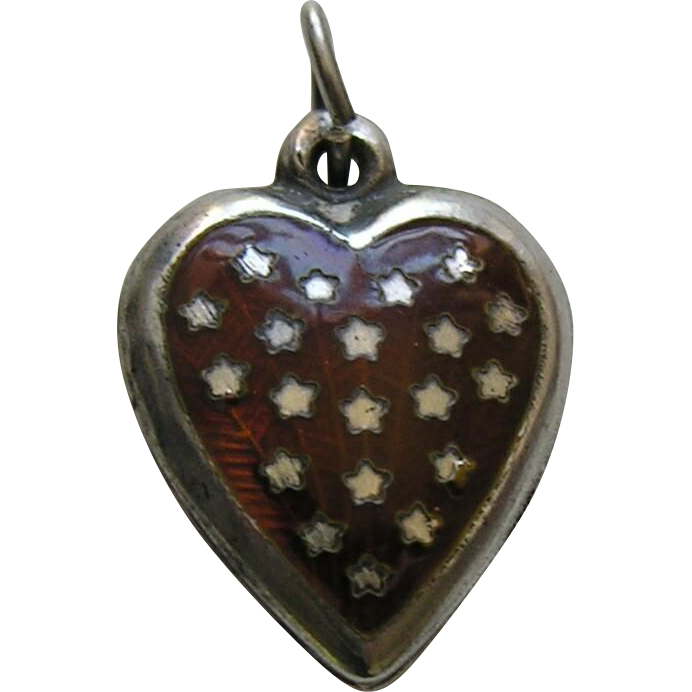 Vintage Burnt Orange Enameled Stars Sterling Heart Charm