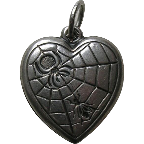 Vintage Spider and Fly Sterling Heart Charm