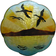 Gustav Gaudernack Enameled Geese at Sunset Large Sterling Brooch