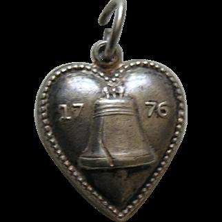 "Vintage Liberty Bell 1776 ""Joe"" Sterling Heart Charm"