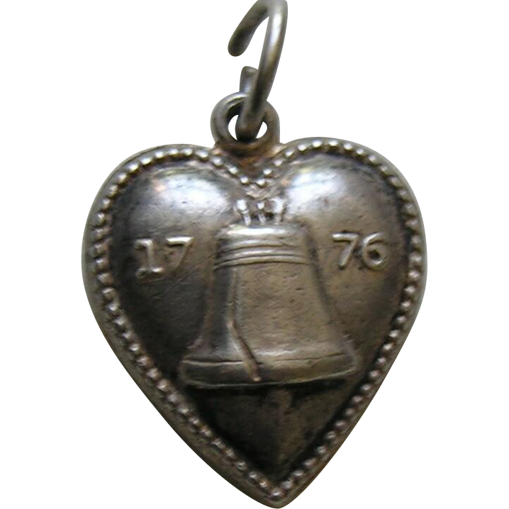 "Vintage Liberty Bell 1776 ""Joe"" Sterling Heart Charm"