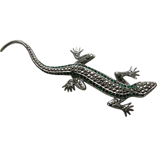 Vintage European Marcasite Emerald Paste Lizard Large 835 Silver Brooch