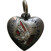 "Antique ""What We Have We Hold"" Enameled Dimboola Sterling Heart Charm"