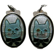Vintage Enameled Cat and Bowtie Sterling Bib Clips