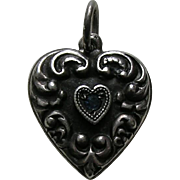Vintage Scroll Border Sapphire Paste Sterling Heart Charm
