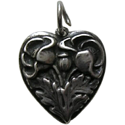 "Walter Lampl Poppy August Flower of the Month Sterling ""Grandmother"" Heart Charm"