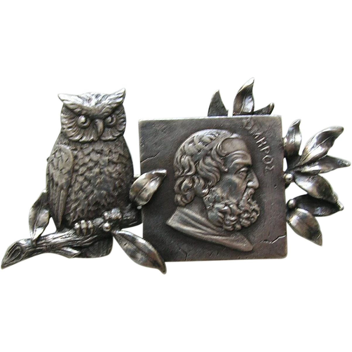 Antique Howard Owl and Philosopher Sterling Brooch