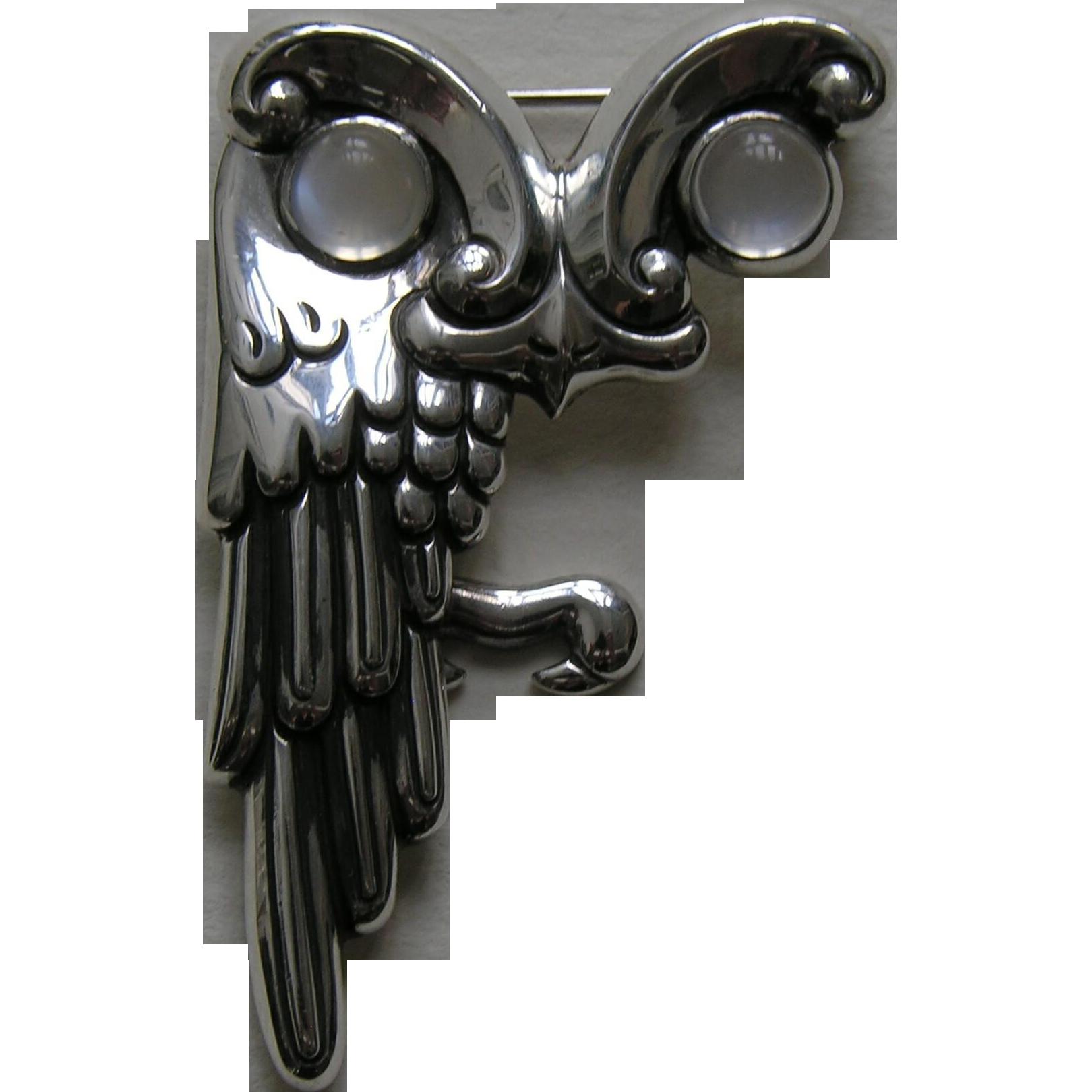 Antonio Owl Moonstone Sterling Brooch