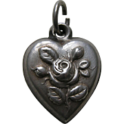 "Antique Rose ""Papa"" Sterling Heart Charm"