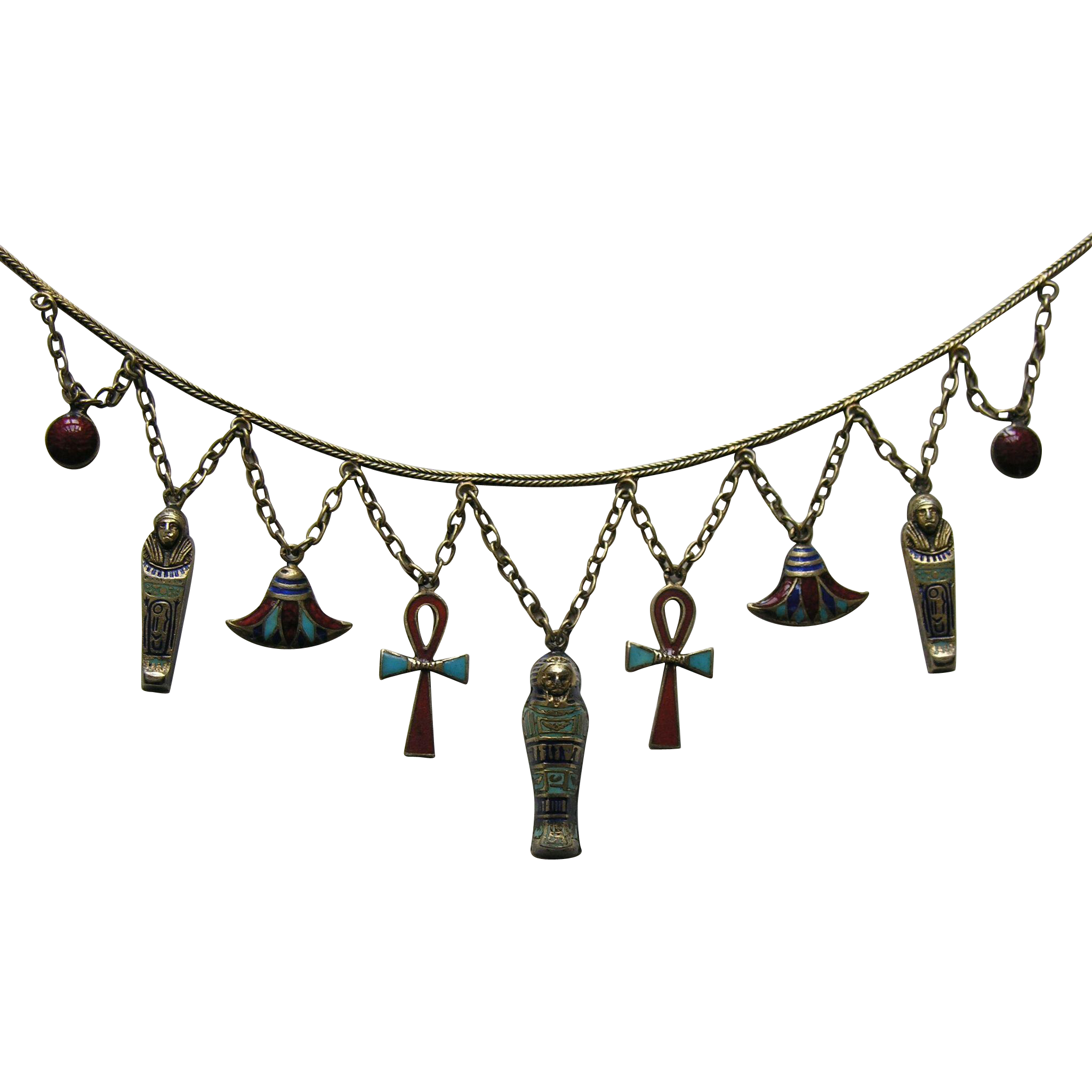 Egyptian Revival Enameled 800 Silver Necklace