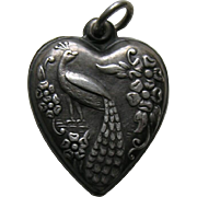 Vintage Peacock Sterling Heart Charm