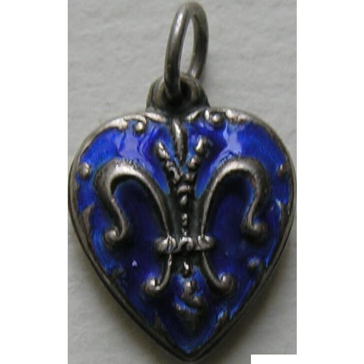 Vintage Blue Enameled Fleur-de-lis Sterling Heart Charm