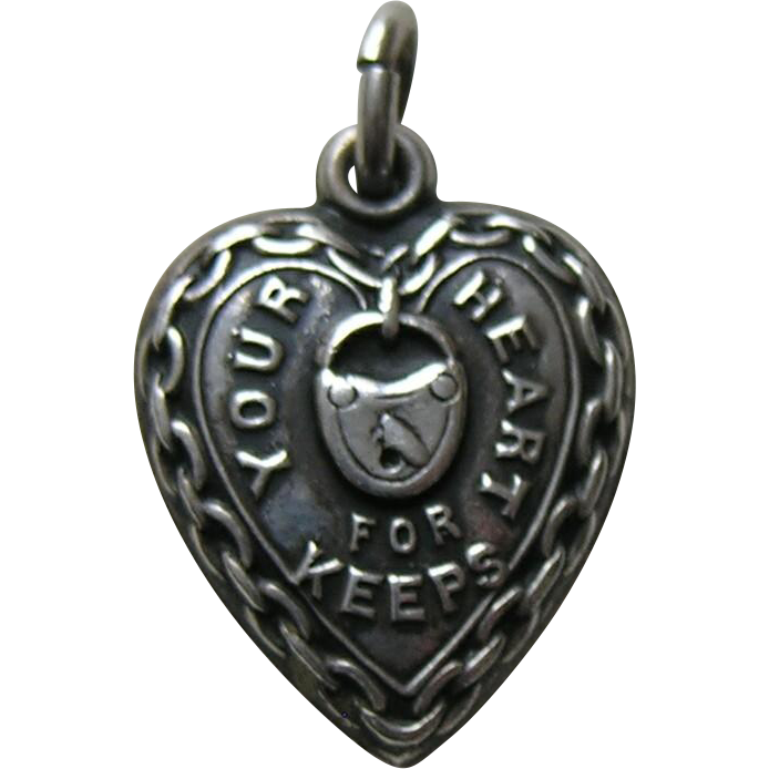 Vintage Your Heart for Keeps Sterling Heart Charm