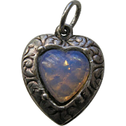 Vintage Opal Paste Sterling Heart Charm