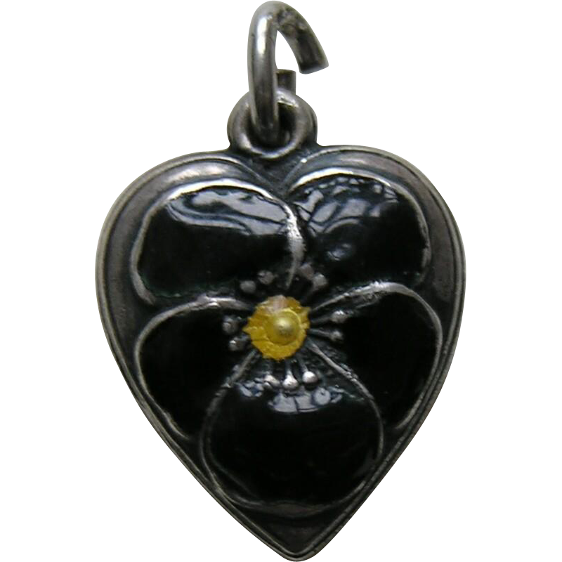 Vintage Black Enameled Pansy Sterling Heart Charm