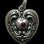 Vintage Floral Border Garnet Paste Large Sterling Heart Charm