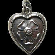 Vintage Tudor Rose Sterling Heart Charm