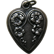 Vintage Cascading Flowers Sterling Heart Charm