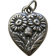 Vintage Flower of the Month October Calendula Sterling Heart Charm