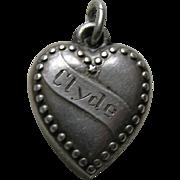 "Vintage Banner ""Clyde"" Beaded Border Sterling Heart Charm"