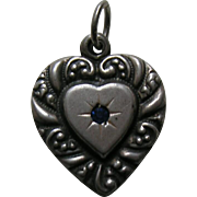 "Vintage Sapphire Paste ""M"" Double Sided Large Sterling Heart Charm"