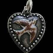 Antique Enameled Bird Sterling Heart