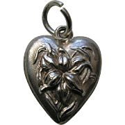 "Antique Orchid ""M.L.B."" Sterling Heart Charm"