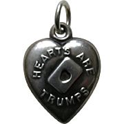 "Antique ""Hearts Are Trumps"" Sterling Heart Charm"