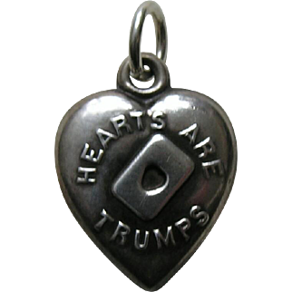 """Antique """"Hearts Are Trumps"""" Sterling Heart Charm"""