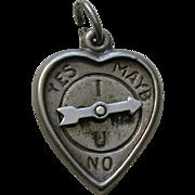 """Vintage """"I Love U"""" Spinner Sterling Heart Charm"""