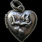 Vintage Cherub Sterling Heart Locket Charm