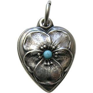 """Vintage Turquoise Paste Pansy """"Ginger"""" Sterling Heart Charm"""