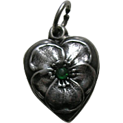Vintage Emerald Paste Pansy Sterling Heart Charm