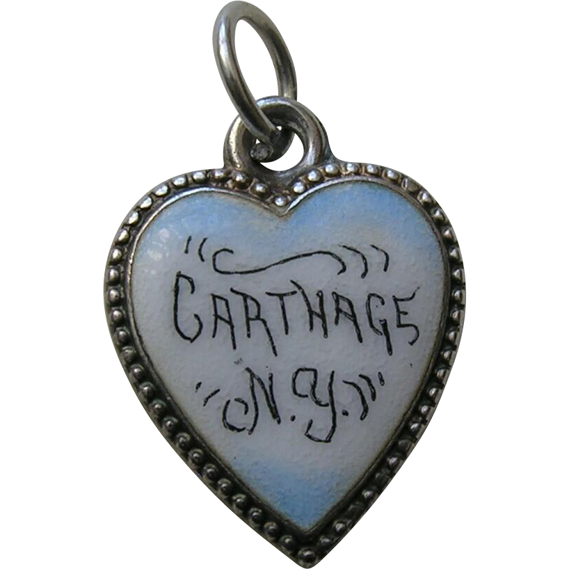 Antique Carthage N.Y. Sterling Heart Charm