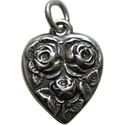 Vintage Flower of the Month June Rose Sterling Heart Charm