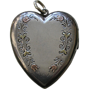 "Victorian Medium Large ""LF"" Applied Gold Sterling Heart Locket"