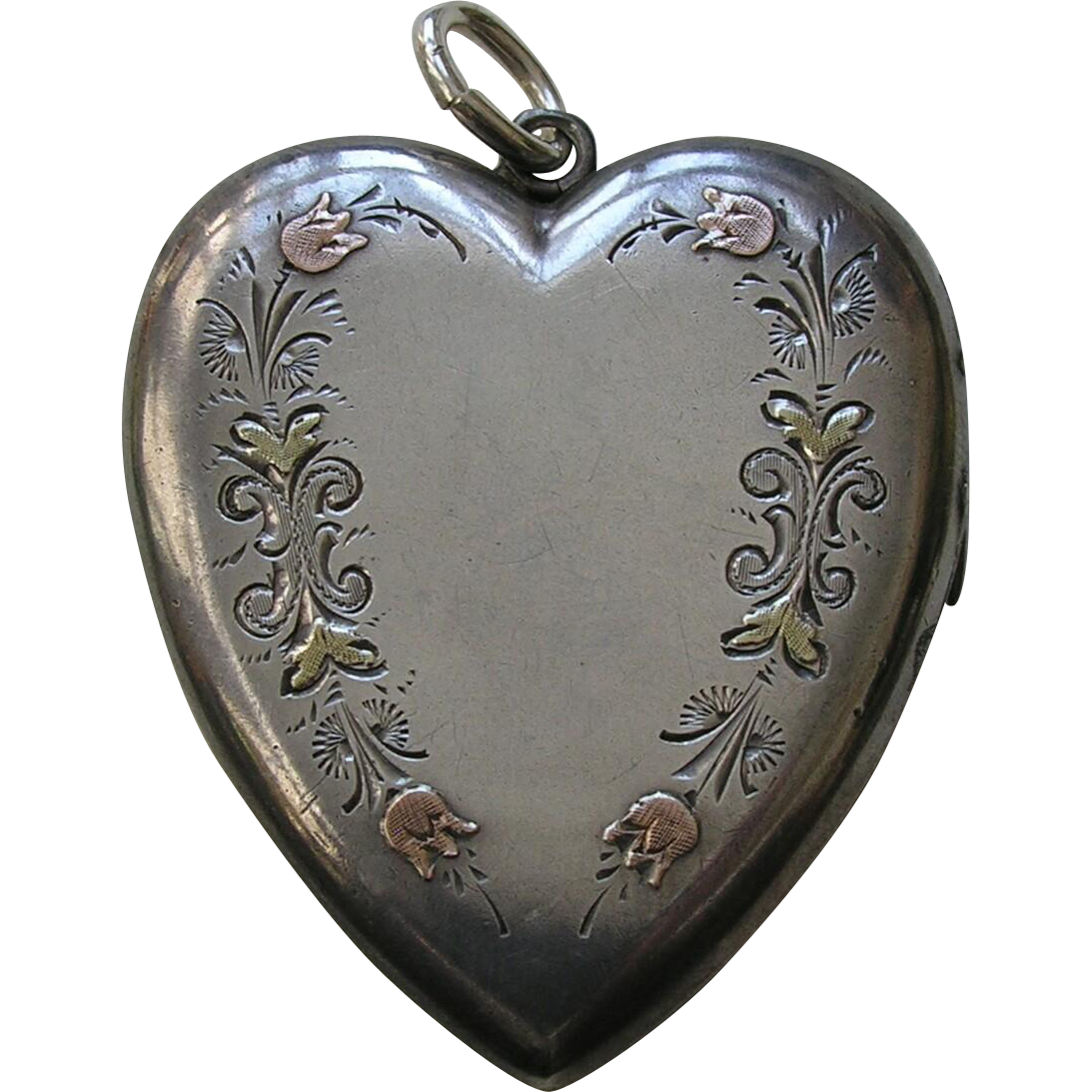 "Victorian Medium Large ""LF"" Applied Gold Sterling Heart Locket"