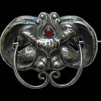 Antique Marius Hammer Carnelian Orchid 830 Silver Brooch