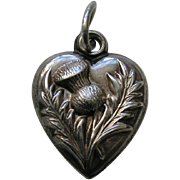 "Antique Thistle ""CEE"" Sterling Heart Charm"